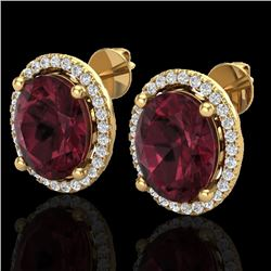 5 CTW Garnet & Micro Pave VS/SI Diamond Earrings Halo 18K Yellow Gold - REF-72M8H - 21057