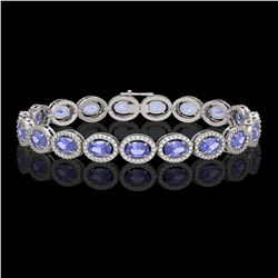 14.25 CTW Tanzanite & Diamond Halo Bracelet 10K White Gold - REF-273A5X - 40460