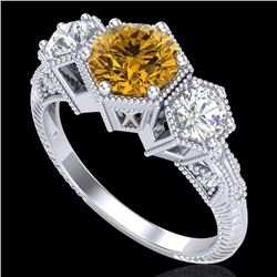 1.66 CTW Intense Fancy Yellow Diamond Art Deco 3 Stone Ring 18K White Gold - REF-254K5W - 38057