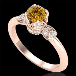 1 CTW Intense Fancy Yellow Diamond Engagement Art Deco Ring 18K Rose Gold - REF-127F3N - 37400