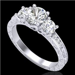 1.41 CTW VS/SI Diamond Solitaire Art Deco 3 Stone Ring 18K White Gold - REF-263K6W - 37007