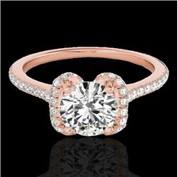 1.33 CTW H-SI/I Certified Diamond Solitaire Halo Ring 10K Rose Gold - REF-163K5W - 33290