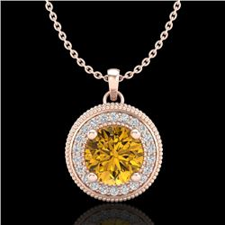 1.25 CTW Intense Fancy Yellow Diamond Art Deco Stud Necklace 18K Rose Gold - REF-132H8A - 38023
