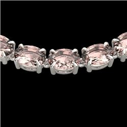 54 CTW Morganite Eternity Designer Inspired Tennis Necklace 14K White Gold - REF-614K9W - 23405