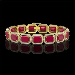38.61 CTW Ruby & Diamond Halo Bracelet 10K Yellow Gold - REF-424H5A - 41527