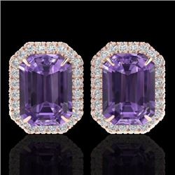 9.40 CTW Amethyst & Micro Pave VS/SI Diamond Halo Earrings 14K Rose Gold - REF-77H8A - 21215