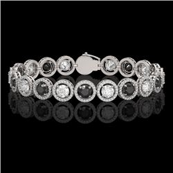 13.96 CTW Black & White Diamond Designer Bracelet 18K White Gold - REF-1428H2A - 42608