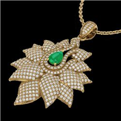 3 CTW Emerald & Micro VS/SI Diamond Designer Necklace 18K Yellow Gold - REF-257Y3K - 22562