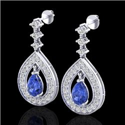 2.25 CTW Tanzanite & Micro Pave VS/SI Diamond Earrings Designer 14K White Gold - REF-109W3F - 23157