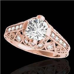 1.25 CTW H-SI/I Certified Diamond Solitaire Antique Ring 10K Rose Gold - REF-207X3T - 34685