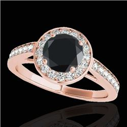 1.45 CTW Certified VS Black Diamond Solitaire Halo Ring 10K Rose Gold - REF-65M3H - 33800