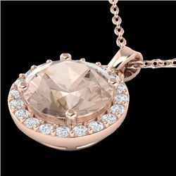 1.50 CTW Morganite & Halo VS/SI Diamond Micro Necklace Solitaire 14K Rose Gold - REF-51A5X - 21565