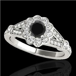 1.65 CTW Certified VS Black Diamond Solitaire Halo Ring 10K White Gold - REF-81H3A - 34035