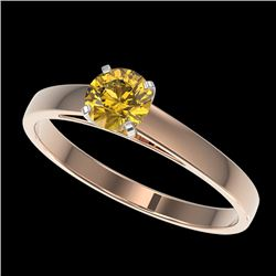 0.50 CTW Certified Intense Yellow SI Diamond Solitaire Engagement Ring 10K Rose Gold - REF-63T8M - 3