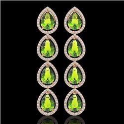 8.4 CTW Peridot & Diamond Halo Earrings 10K Rose Gold - REF-172X2T - 41310