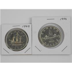 Lot (2) CAN Silver Dollars: 1949 and 1956