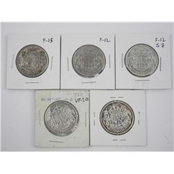 Lot (5) CAD Silver 50 Cent Coins: 1939, 1945, 1947