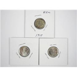Lot (3) Canada Silver 10 Cent Coins: 1917, 1957, 1