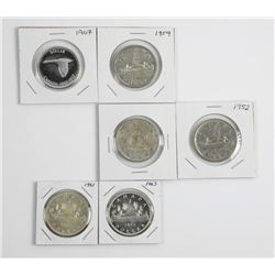 Lot (6) CAD Silver Dollars: 1949, 1952, 1959, 1961