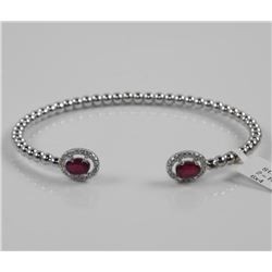 925 Sterling Silver Bangle Bracelet 2 Oval Ruby Ge