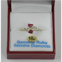 10kt Gold Custom Ring (BB25) 2 Pear Ruby and 6 Dia