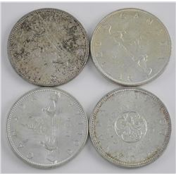 Lot (4) CAD Silver Dollars: 1963, 1964, 1965, 1966