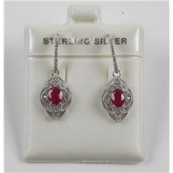 925 Sterling Silver Drop Earring 2 Oval Ruby Gemst
