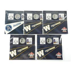 Lot (5) Grey Cup 100 Stamp and Coin Folios. ARGOS