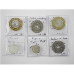 Lot (6) World Coins, Mixed
