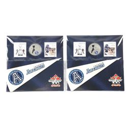 2x Grey Cup 100 RCM Stamp and Coin Folios