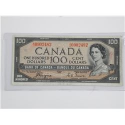 Bank of Canada 1954 - One Hundred Dollar Note Devi