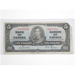 Bank of Canada 1937 - Five Dollar Note. G/T