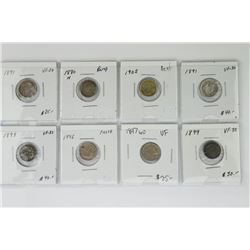 Lot (8) CAN 5 Cent Coins - 1800s