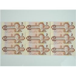 Lot of (9) Bank of Canada 1986 2.00 UNC - Consecut