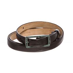Valentino Black Lizard Skin Green Rhinestone Buckle Thin Belt