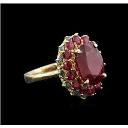 10.29 ctw Ruby and Diamond Ring - 14KT Yellow Gold