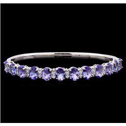 9.58 ctw Tanzanite and Diamond Bracelet - 14KT White Gold