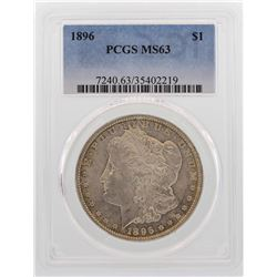 1896 $1 Morgan Silver Dollar Coin PCGS MS63