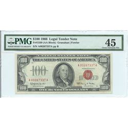1966 $ 100 Legal Tender Note PMG Extremely Fine 45
