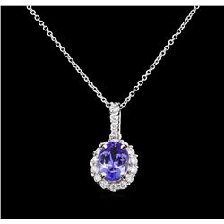 2.30 ctw Tanzanite and Diamond Pendant With Chain - 14KT White Gold