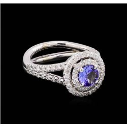 14KT White Gold 1.24 ctw Tanzanite and Diamond Ring
