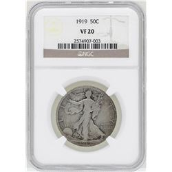 1919 Walking Liberty Half Dollar Coin NGC VF20