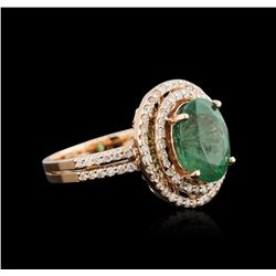 2.72 ctw Emerald and Diamond Ring - 14KT Rose Gold