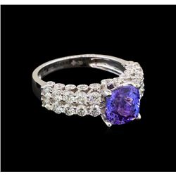 18KT White Gold 2.30 ctw Tanzanite and Diamond Ring