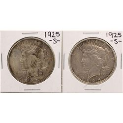 Lot of (2) 1925-S $1 Peace Silver Dollar Coins