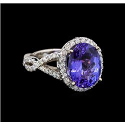 14KT White Gold 5.12 ctw Tanzanite and Diamond Ring
