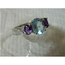 RING - 2 1/4 CARAT BABY SWISS BLUE TOPAZ & 1 3/4 CARAT AMETHYST IN 925 STERLING SILVER SETTING - SZ