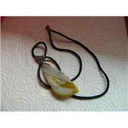 """ROPE NECKLACE WITH 3"""" AGATE SLICE"""