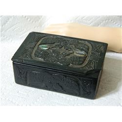 """TRINKET BOX - ABALONE EYES - FIRST NATIONS CARVING CORNER DAMAGED ON LID - 5"""" x 3"""" x 2"""" tal with lid"""