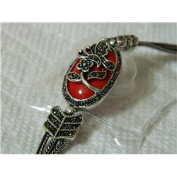 BRACELET - VINTAGE STYLE CRAFTING OF RUBY STYLE GEM IN GERMAN STERLING SILVER SETTING WITH 18K GOLD